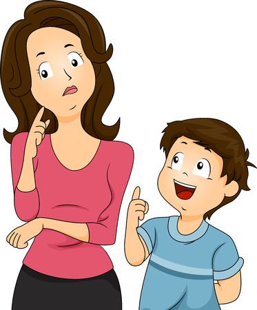 Illustration of a Confused Mom Thinking About How to Respond to Her Sons Questions Stock Photo