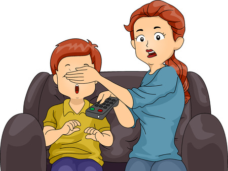 son: Illustration of a Mom Covering Her Sons Eyes While Watching TV