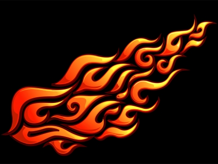 decal: Illustration of Ready to Print Flame Stickers or Tattoo Designs