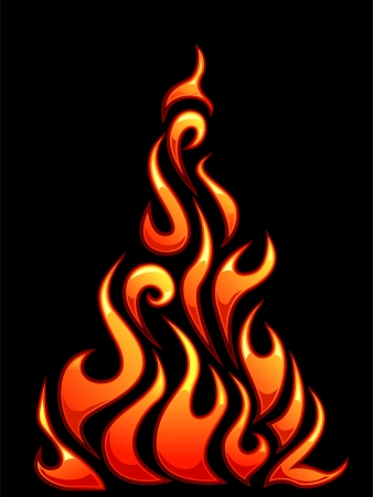 upright: Illustration of Ready to Print Flame Stickers or Tattoo Designs
