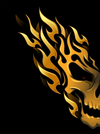 fire skull: Illustration of Ready to Print Flame Stickers or Tattoo Designs