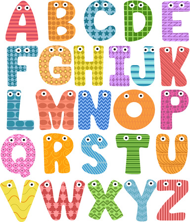 letters clipart: Mascot Illustration Featuring Letters of the Alphabet in All Caps
