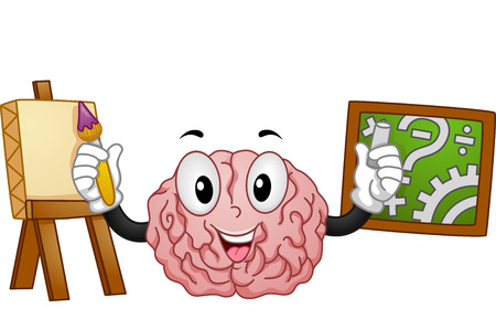 Mascot Illustration Demonstrating the Functions of the Left and Right Portions of the Brain Stock Photo