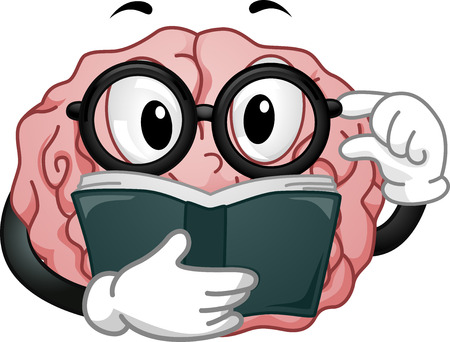 Mascot Illustration Featuring a Glasses-Wearing Brain Reading a Book