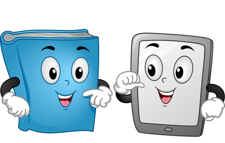 computer mascot: Mascot Illustration Featuring a Book and a Computer Tablet Standing Side by Side Stock Photo