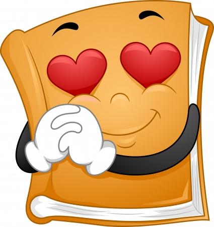 flashing: Mascot Illustration Featuring a Book Flashing Heart-shaped Eyes Stock Photo