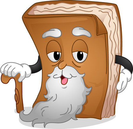 anthropomorphic: Mascot Illustration Featuring a Wrinkled and Bearded Book Holding a Cane Stock Photo