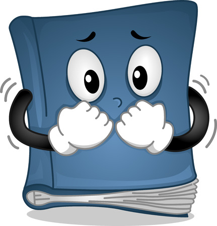 trembling: Mascot Illustration Featuring a Book Trembling in Fear