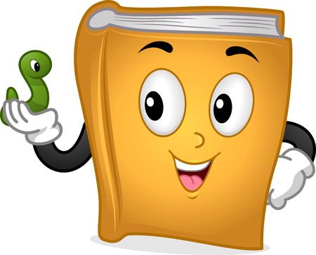 bookworm: Mascot Illustration Featuring a Book Holding a Green Worm Stock Photo