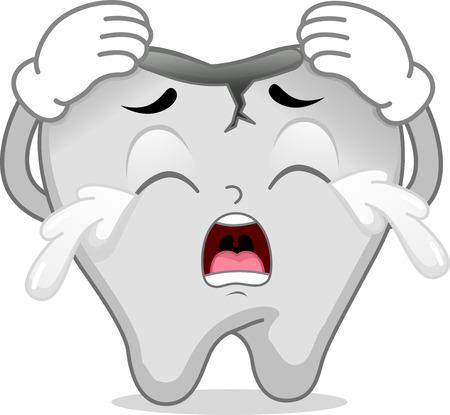 diente caricatura: Ilustración Mascota Con un diente roto llorando de dolor