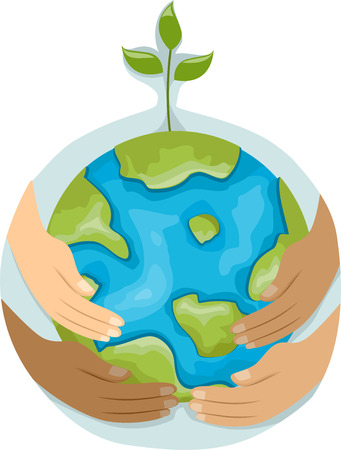 hands holding globe: Illustration Featuring Hands with Different Colors Holding a Globe with a Plant on Top