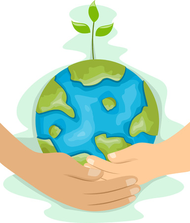 hands holding plant: Illustration of a Man and a Kids Hands Holding a Globe with a Plant on Top Together - Man teaching kid Environmental Protection Stock Photo