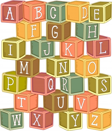 abc blocks: Illustration of a Stack of Wooden Blocks Etched with Letters of the Alphabet