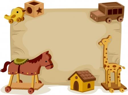 juguetes de madera: Ilustraci�n de fondo ofrece una gran variedad de juguetes de madera