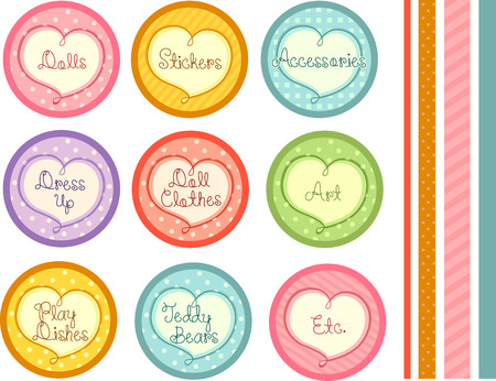 Illustration Featuring Ready to Print Labels with Texts Related to Female Toys Stock Illustration - 22812282