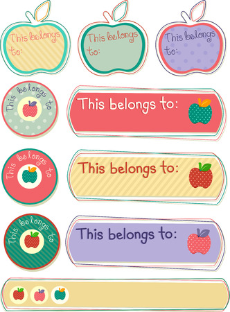 name tags: Illustration Featuring Ready to Print Labels for Marking School Supplies