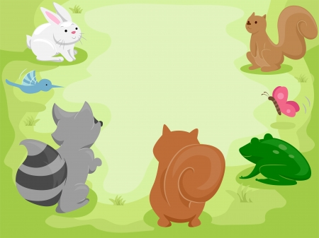 meetup: Illustration Featuring Cute Little Animals Gathering in the Woods Stock Photo