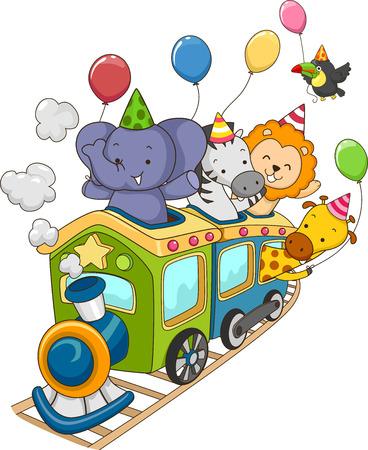 animales de la selva: Ilustración de los animales de la selva que sostiene globos del partido en un tren locomotora