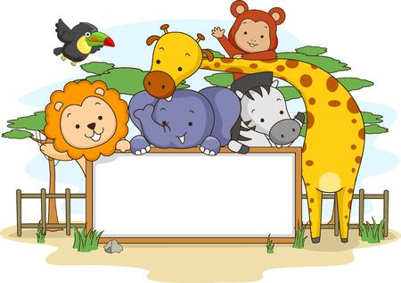 Banner Illustratie Met Jungle Animals Poseren voor een groep Photo