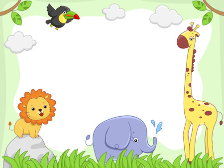 cartoon for�t: Illustration d'un cadre comportant mignons animaux de la jungle