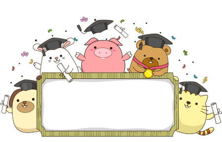 Banner Illustration Featuring Animals Wearing Graduation Caps and Holding Rolled Diplomas illustration