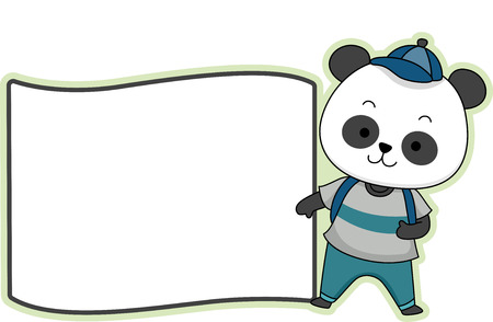 schooler: Illustration Featuring a Ready to Print Label with a Panda on the Side