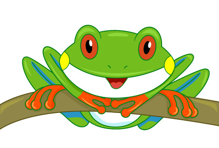 curiously: Illustration of a Cute Tree Frog Looking Curiously at the Screen