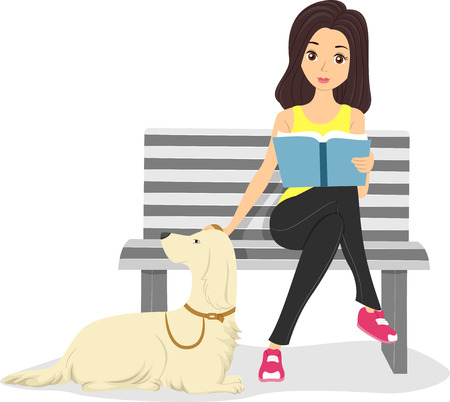 Illustration of a Girl Stroking Her Pet's Fur While Reading a Book Stock Illustration - 22813960