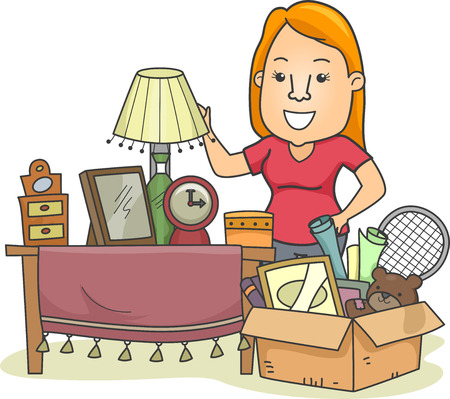 Illustration of a Woman Standing Beside a Box Full of Assorted Items Zdjęcie Seryjne