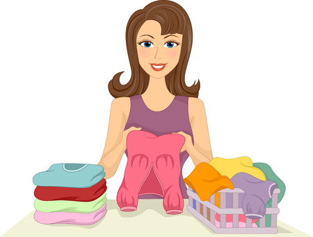 Illustration of a Girl Folding Clothes