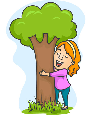 Illustration of a Smiling Girl Hugging a Tree
