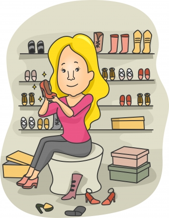 retail therapy: Illustration of a Woman in a Boutique Trying Different Types of Shoes