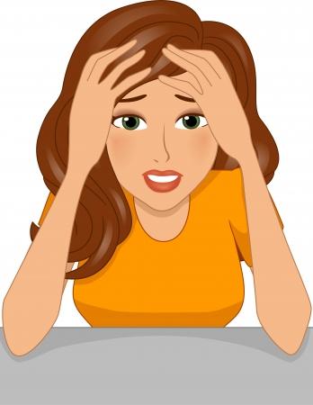 Ilustración de una muchacha tensionada apretando su cabeza entre las manos Foto de archivo - 22813921