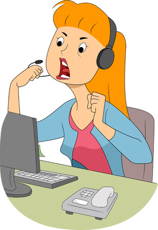 Illustration of an Angry Girl Shouting Through Her Microphone illustration