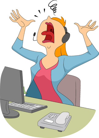 unsatisfied: Illustration of a Frustrated Girl Freaking Out and Shouting at the Top of Her Lungs