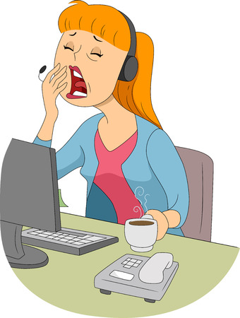 yawn: Illustration of a Sleepy Girl Trying to Cover Her Mouth While Yawning Stock Photo