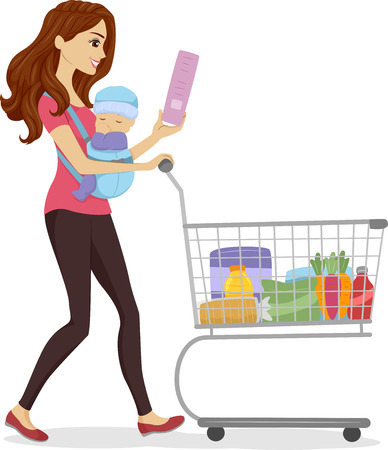 Illustration of a Woman Doing Some Grocery Shopping While Carrying a Baby Stock Illustration - 22817709