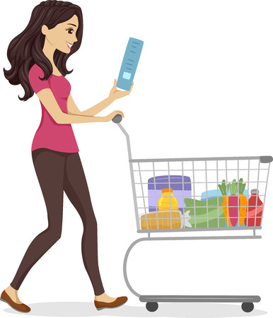grocery cart: Illustration of a Woman Pushing a Cart Filled with Grocery Items