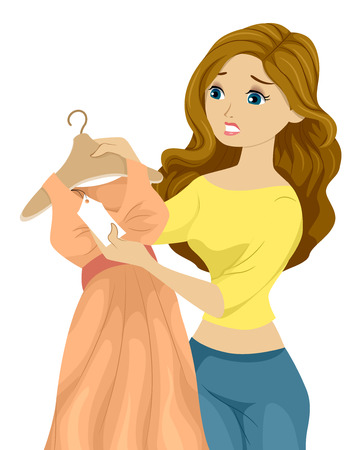 Illustration of a Woman Holding a Beautiful Dress Looking at the Price Tag with Regret Stock Illustration - 22817713