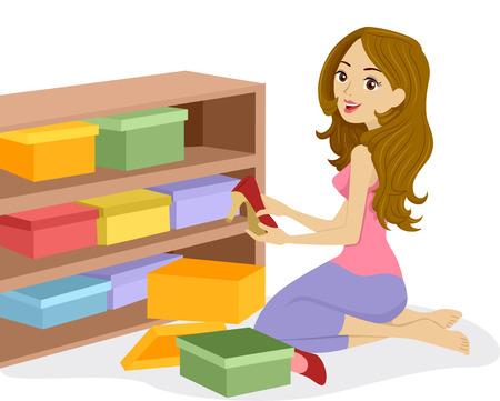 Afbeelding van een vrouw schikken Dozen van schoenen op een houten plank