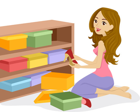 preadult: Illustration of a Woman Arranging Boxes of Shoes on a Wooden Shelf