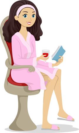 Illustratie van een tienermeisje een boek lezen terwijl ontspannen in een kuuroord