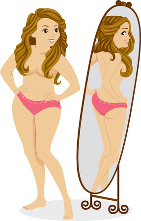 reflection in mirror: Illustration of a Plump Female Standing in Front of a Mirror and Seeing a Thin Girl in the Reflection
