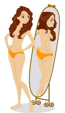 Illustratie van een tiener meisje controle van haar figuur in de spiegel