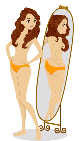 preadult: Illustration of a Teenage Girl Checking Her Figure in the Mirror Stock Photo