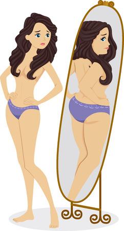 Illustratie van een dunne vrouw staande voor een spiegel en zien van een mollig meisje in de Reflection