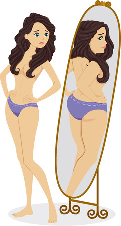 mirror reflection: Illustration of a Thin Female Standing in Front of a Mirror and Seeing a Plump Girl in the Reflection Stock Photo