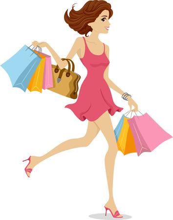 Illustratie van een meisje dat een roze jurk draagt en gelukkig wegloopt met boodschappentassen op sleeptouw