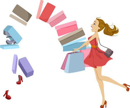 Illustratie van Schoenen Falling Out of Shopping Dozen Wordt Gedragen door een meisje uit balans.