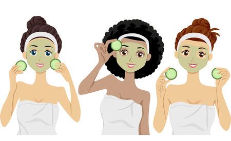 오이의 조각을 들고 그들의 얼굴에 클레이 마스크를 착용하는 여성의 그림